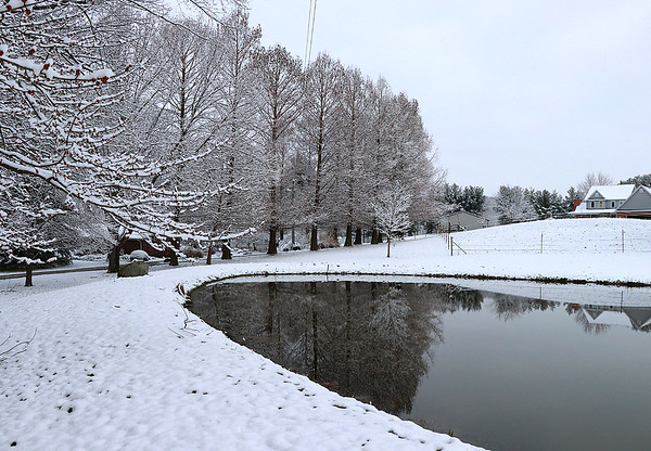 A friends pond and snowy tree line.<br /> <br /> Photographer's Name: Jerry Byard<br /> Photographer's City and State: Anderson, Ind.