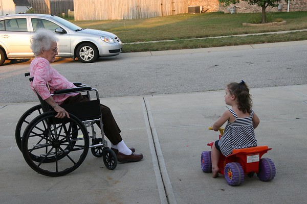 While Abby's family is packing for their move to Alaska, she spends some time with her great-grandmother – each with the wheels of their generation.<br /> <br /> Photographer's Name: Jerri Green<br /> Photographer's City and State: Anderson, Ind.