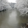 A downstream look of snowy tree lined White River.<br /> <br /> Photographer's Name: Jerry Byard<br /> Photographer's City and State: Anderson, Ind.
