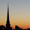 Sunset at Park Place Church of God and in downtown Anderson from Anderson University's Rozelle Observatory.<br /> <br /> Photographer's Name: Hayley Bower<br /> Photographer's City and State: Anderson, Ind.