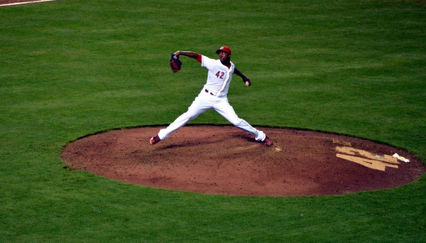 """The """"Cuban Missile,"""" Aroldis Chapman, on Jackie Robinson Day.<br /> <br /> Photographer's Name: jim Johnson<br /> Photographer's City and State: Anderson, Ind."""