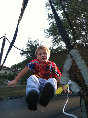 My son, Thias, caught mid-jump on the trampoline!!<br /> <br /> Photographer's Name: Molly McCoy<br /> Photographer's City and State: Anderson, Ind.