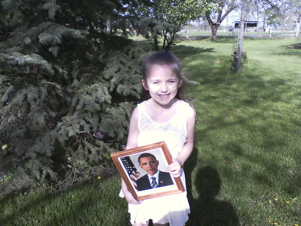 Haiden Williams of Anderson and a first grade student at 10th Street school, is holding an autographed picture and letter from President Obama. This spring Haiden wrote to the president and was surprised when the letter came to her in the mail. Haiden is the daughter of Justin and Hilary Williams of Anderson and the granddaughter of Mike and Kathy Davis of Anderson and Frank and Kathy Davis of Alexandria. She is also the great-great-granddaughter of Mary Bassett of Alexandria.<br /> <br /> Photographer's Name: Kathy Davis<br /> Photographer's City and State: Alexandria, Ind.