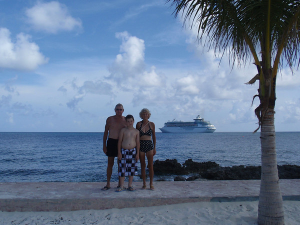 Larry and Linda Stevenson and grandson Matthew Parkhurst on an island in the Caribbean, with a cruise ship is the background.<br /> <br /> Photographer's Name: Larry Stevenson<br /> Photographer's City and State: Anderson, Ind.