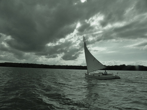 Dave Pieper of Muncie, Ind., enjoying a windy sail at Prairie Creek, Selma, Ind.<br /> <br /> Photographer's Name: Evelyn Bauer<br /> Photographer's City and State: Anderson, Ind.