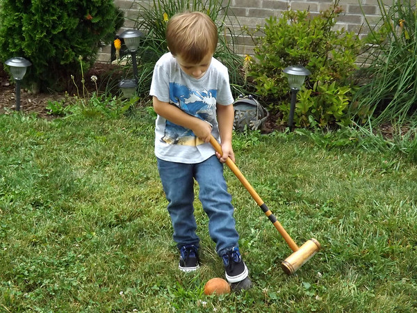 Who needs Kings Island when you  have a front yard? Eli Coxe, learning the game.<br /> <br /> Photographer's Name: J.R. Rosencrans<br /> Photographer's City and State: Alexandria, Ind.