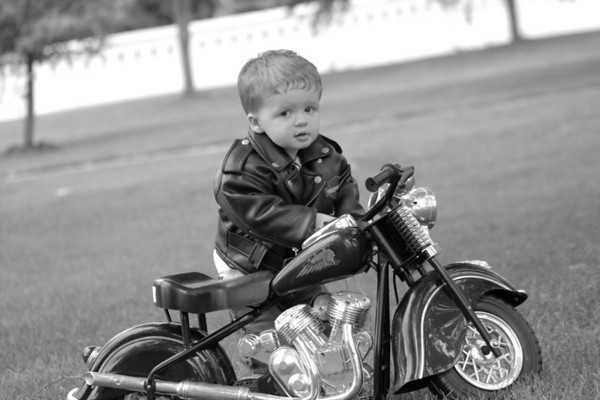 19-month-old Lucas Etchison going a little pit and shine on his motorcycle.<br /> <br /> Photographer's Name: Tammy Jenkins<br /> Photographer's City and State: Daleville, Ind.