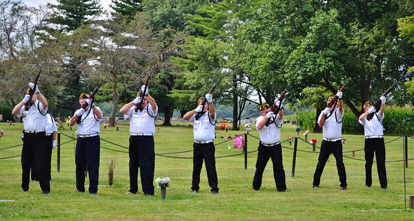 Legion gun salute for my Uncle Jim Heater's service at East Maplewood August 7.<br /> <br /> Photographer's Name: Colleen Brown<br /> Photographer's City and State: Anderson, Ind.