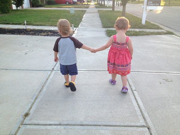 Grandchildren, twins Brayden and Madelyn Ambler, taking a walk in their neighborhood.<br /> <br /> Photographer's Name: Karen Ambler<br /> Photographer's City and State: Anderson, Ind.