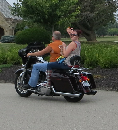Rob and Niki Lyons going through memorial cemetery in the 9th annual Jessica & Lyndsay memorial ride.<br /> <br /> Photographer's Name: Shelly Breece<br /> Photographer's City and State: Pendleton, Ind.