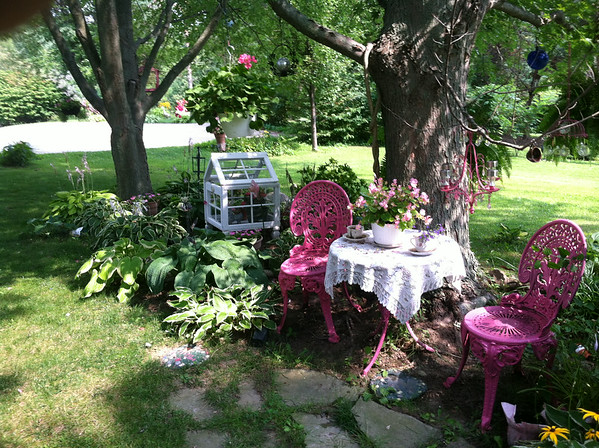 Tea Time in the garden.<br /> <br /> Photographer's Name: Melva  Tegge<br /> Photographer's City and State: Middletown, Ind.