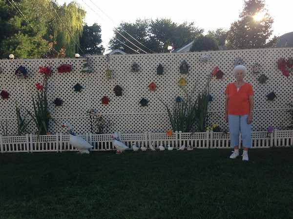 Anderson resident Opal Lindley, 90, enjoys her bird houses, flowers, and ducks.  <br /> <br /> Photographer's Name: Dee Dubar <br /> Photographer's City and State: Anderson , Ind.