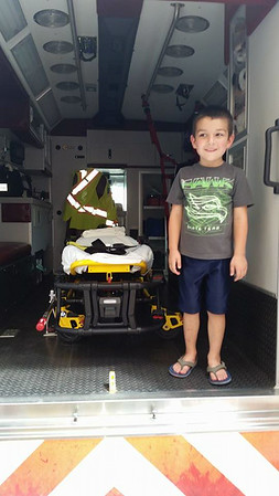 My grandson, Kristian Buttler, in an ambulance at Pendleton Fire Station on Safety Day.<br /> <br /> Photographer's Name: Jill Neff<br /> Photographer's City and State: Anderson, Ind.