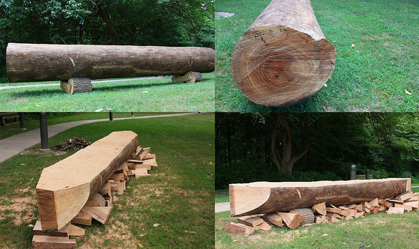 This is the start of a new canoe creation for historical purposes at Mounds Park.<br /> <br /> Photographer's Name: Jerry Byard<br /> Photographer's City and State: Anderson, Ind.
