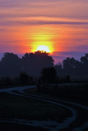 Sunrise on the farm in Richland Township.<br /> <br /> Photographer's Name: J.R. Rosencrans<br /> Photographer's City and State: Alexandria, Ind.