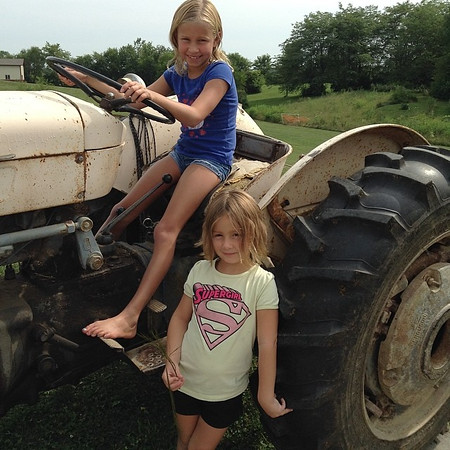 Farm girls, Allie and Katie Gray. Photo taken in Richland Township.<br /> <br /> Photographer's Name: J. R. Rosencrans<br /> Photographer's City and State: Alexandria, Ind.