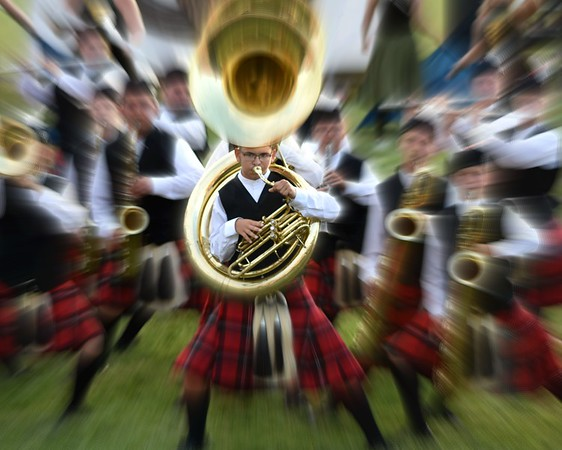 Maverick Flanigan playing his sousaphone at a recent contest, preparing to go to state with the Anderson Marching Highlanders.<br /> <br /> Photographer's Name: Amy Flanigan<br /> Photographer's City and State: Anderson, Ind.
