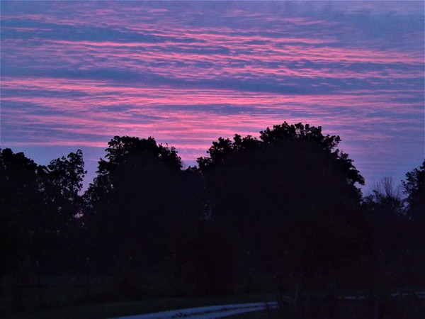 Red sky in the morning in Richland Township.<br /> <br /> Photographer's Name: J.R. Rosencrans<br /> Photographer's City and State: Alexandria, Ind.