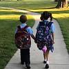 Grandchildren Jack and Gigi walking into school first day<br /> <br /> Photographer's Name: Karen Ambler<br /> Photographer's City and State: Anderson, Ind.