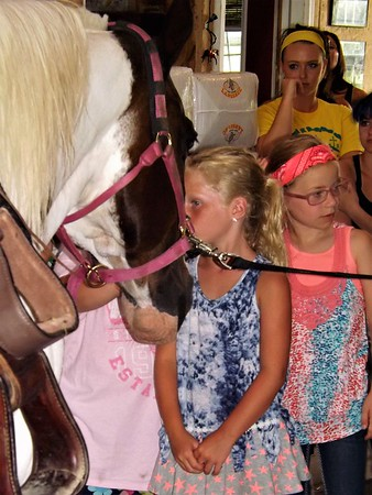A kiss for good luck: Horse camp at Moon Rise Farms.<br /> <br /> Photographer's Name: J.R. Rosencrans<br /> Photographer's City and State: Alexandria, Ind.