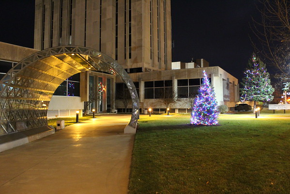 The Anderson City Building with crystal arch and Christmas tree.<br /> <br /> Photographer's Name: Brian Fox<br /> Photographer's City and State: Anderson, Ind.