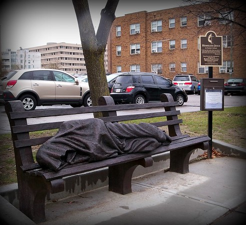 Homeless Jesus sculpture in downtown Indianapolis.<br /> <br /> Photographer's Name: Debra Howell<br /> Photographer's City and State: Pendleton, Ind.