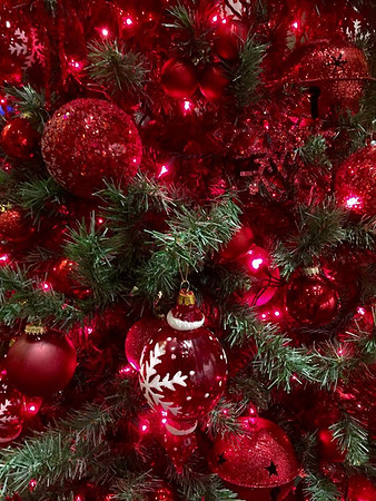 Red Christmas tree/ornaments up close at the Honeywell Center in Wabash, Ind.<br /> <br /> Photographer's Name: Janet Neese-Hoffman<br /> Photographer's City and State: Frankton, Ind.