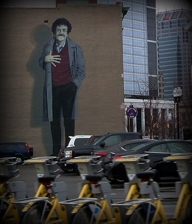 Downtown Indy, mural of Kurt Vonnegut.<br /> <br /> Photographer's Name: Debra Howell<br /> Photographer's City and State: Pendleton, Ind.