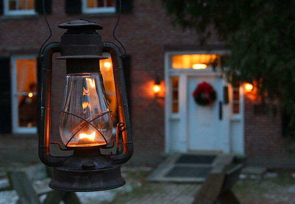 Lantern light in front of the Bronnenberg House at Mounds Park adding to the Christmas decor.<br /> <br /> Photographer's Name: Jerry Byard<br /> Photographer's City and State: Anderson, Ind.