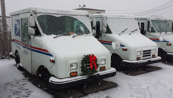Getting my mail truck ready to spread Christmas cheer -- and lots of Amazon packages -- at the Anderson post office.<br /> <br /> Photographer's Name: Beth  Spiker<br /> Photographer's City and State: Middletown, Ind.
