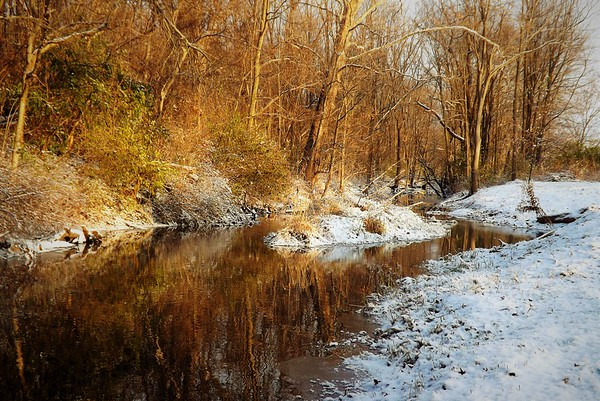 Killbuck Creek, first snow of the season.<br /> <br /> Photographer's Name: J.R. Rosencrans<br /> Photographer's City and State: Alexandria, Ind.