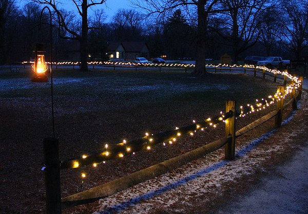 Lighted fence at Mounds Park by the Bronnenberg House.<br /> <br /> Photographer's Name: Jerry Byard<br /> Photographer's City and State: Anderson, Ind.