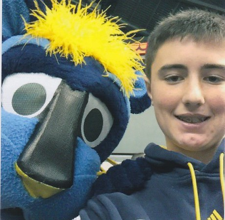 My grandson Griffin at a Pacers game with Boomer.<br /> <br /> Photographer's Name: Pete Dodd<br /> Photographer's City and State: Anderson, Ind.