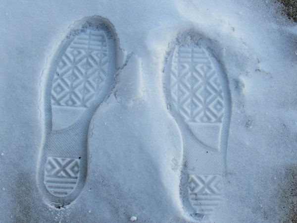Granddaughter's shoe prints in the snow.<br /> <br /> Photographer's Name: Harry Van Noy<br /> Photographer's City and State: Lafayette Township, Ind.