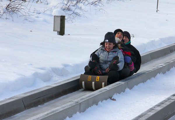 This is a packed sled of people enjoying the toboggan run at Pokagon State Park.<br /> <br /> Photographer's Name: Jerry Byard<br /> Photographer's City and State: Anderson, Ind.