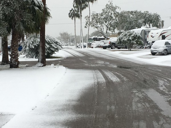 Snow in a Corpus Christi, Texas,  RV park.<br /> <br /> Photographer's Name: Debbie Summers<br /> Photographer's City and State: Anderson, Ind.