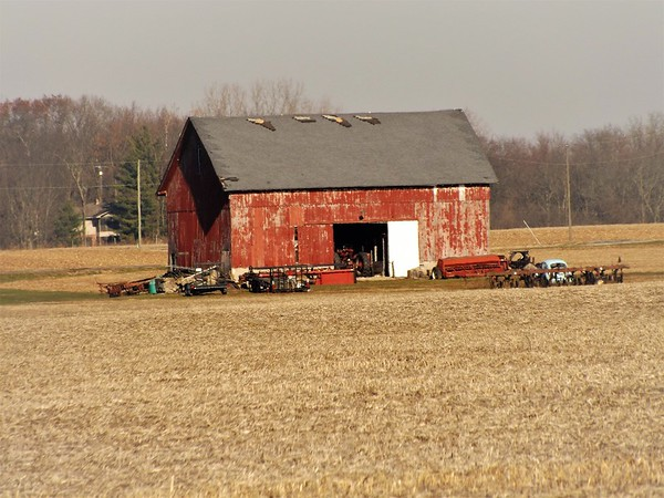 Indiana red barn in Richland Township.<br /> <br /> Photographer's Name: J.R. Rosencrans<br /> Photographer's City and State: Alexandria, Ind.