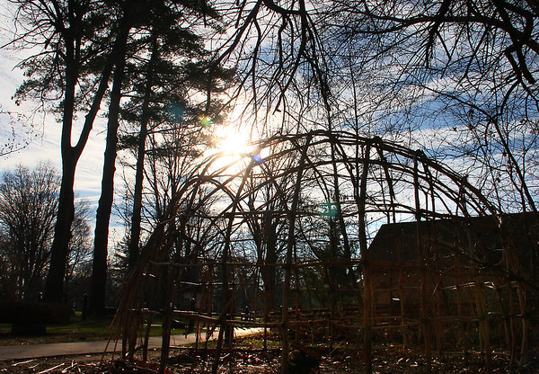 Sunburst through the Wigwam at Mounds Park around the time of the Winter Solstice.<br /> <br /> Photographer's Name: Jerry Byard<br /> Photographer's City and State: Anderson, Ind.