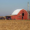 """Little red barn on a farm in Indiana.""<br /> <br /> Photographer's Name: J.R. Rosencrans<br /> Photographer's City and State: Alexandria, Ind."