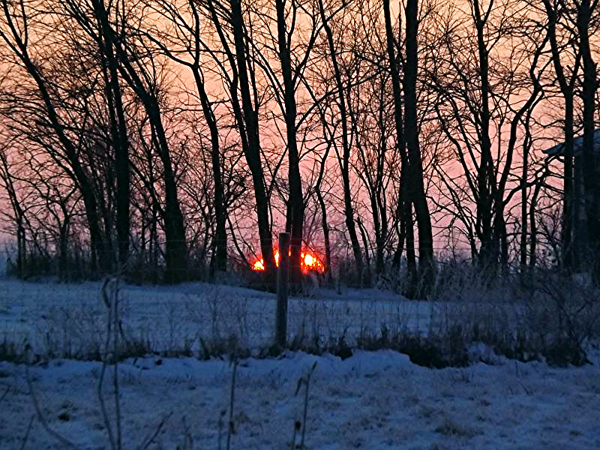 Winter dawn on the farm in Richland Township.<br /> <br /> Photographer's Name: J.R.  Rosencrans<br /> Photographer's City and State: Alexandria, Ind.