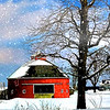 A round red barn in Delaware County.<br /> <br /> Photographer's Name: Linda Riedel Ellis<br /> Photographer's City and State: Daleville, Ind.