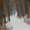 A couple people were enjoying the fresh snow while hiking at Mounds State Park.<br /> <br /> Photographer's Name: Jerry Byard<br /> Photographer's City and State: Anderson, Ind.