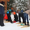 A group of folks at Tahquamenon Falls Park preparing for a snowshoe hike.<br /> <br /> Photographer's Name: Jerry Byard<br /> Photographer's City and State: Anderson, Ind.