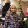 A young participant at Mounds Park walking stick workshop is showing her creation.<br /> <br /> Photographer's Name: Jerry Byard<br /> Photographer's City and State: Anderson, Ind.