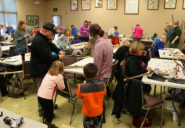 A walking stick workshop at Mounds Park is a popular activity.<br /> <br /> Photographer's Name: Jerry Byard<br /> Photographer's City and State: Anderson, Ind.