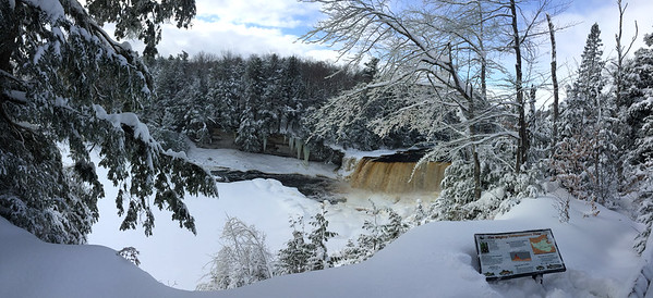 A wide view of Tahquamenon Falls in Upper Michigan.<br /> <br /> Photographer's Name: Jerry Byard<br /> Photographer's City and State: Anderson, Ind.