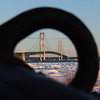"""The Mackinac Bridge through the """"eye of a bouy.""""<br /> <br /> Photographer's Name: Jerry Byard<br /> Photographer's City and State: Anderson, Ind."""