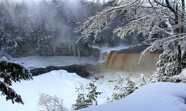 A shot of the icy area Tahquamenon Falls in Michigan that I visited recently.<br /> <br /> Photographer's Name: Jerry Byard<br /> Photographer's City and State: Anderson, Ind.
