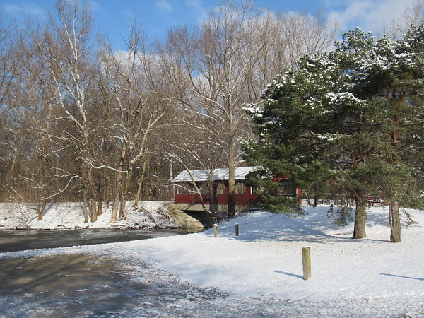 Bridge at Shadyside Lake, after a small February snowfall.<br /> <br /> Photographer's Name: Harry Van Noy<br /> Photographer's City and State: Lafayette Township, Ind.