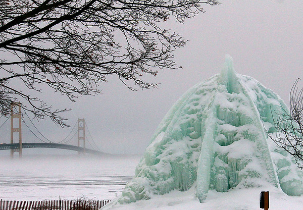 A frozen fountain in Mackinaw City.<br /> <br /> Photographer's Name: Jerry Byard<br /> Photographer's City and State: Anderson, Ind.